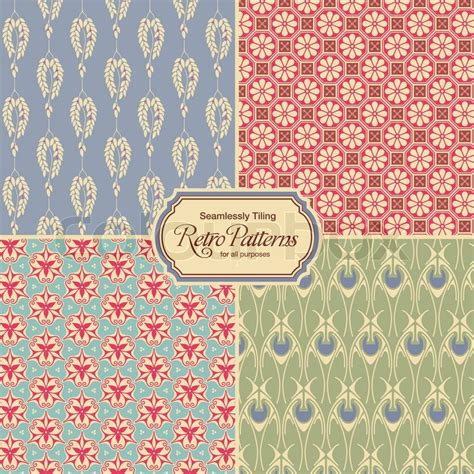 fliese retro pastel colored retro patterns set of four vintage