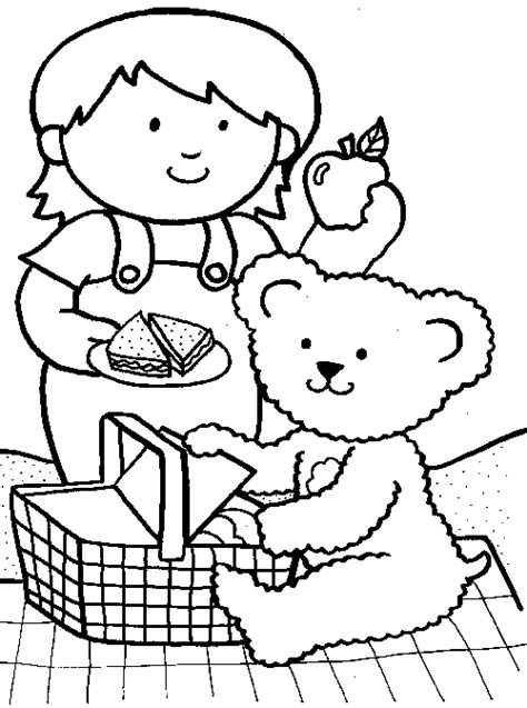 Picnic Coloring Pages Preschool | free coloring pages of teddy bears picnic