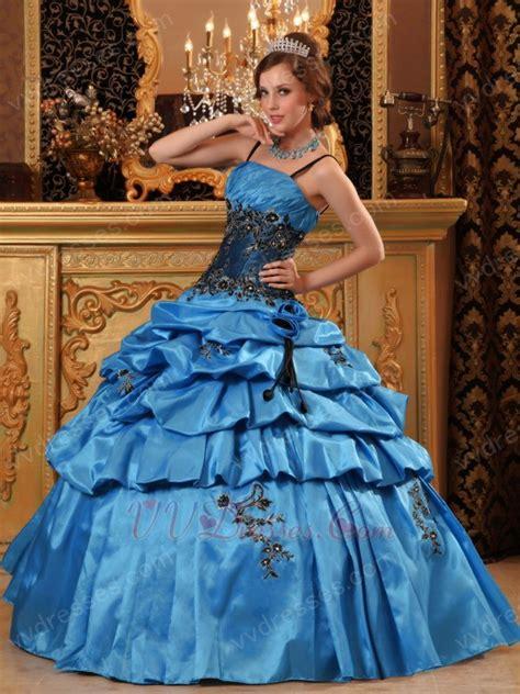 Salvia Skirt salvia blue quinceanera dress with spaghetti straps