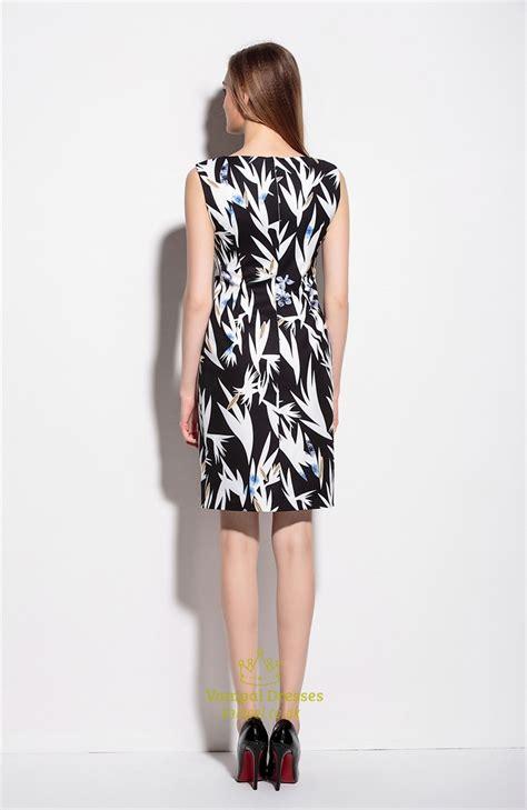 Floral Print Sleeveless Dress black and white sleeveless floral print summer dress