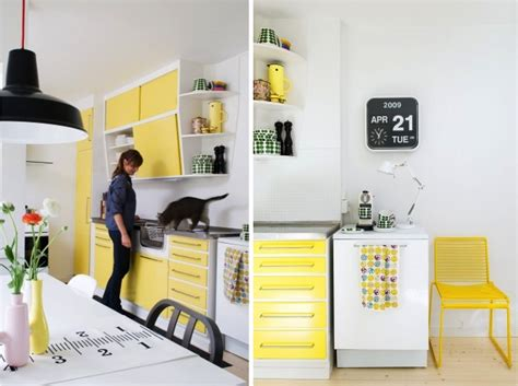 black white and yellow kitchen live here eat that yellow this this