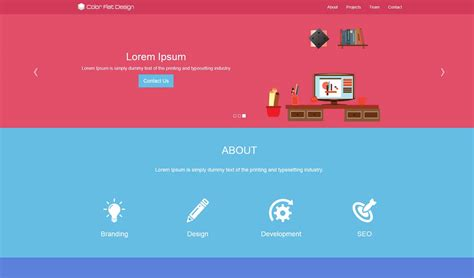bootstrap themes free flat color flat design theme prepbootstrap