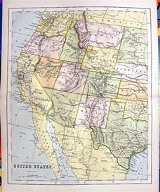 1876 color engraving map of western united states