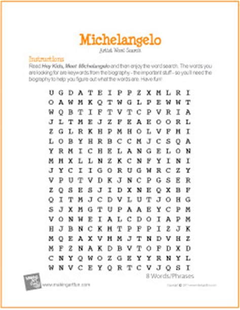 printable italian word search michelangelo word search worksheet