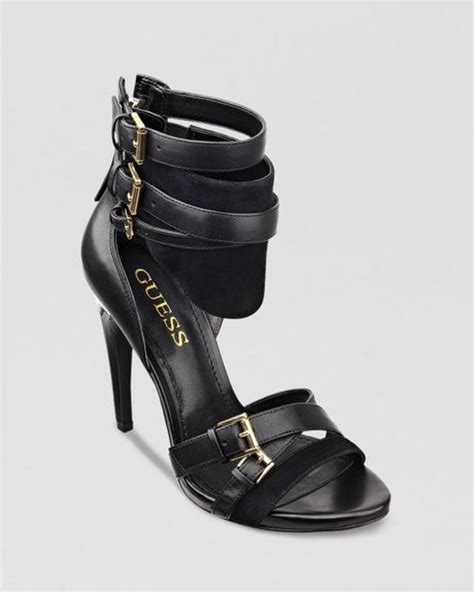 high heels guess guess taditi cuffed high heel platform sandals in black lyst