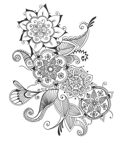mehndi pattern drawing drawn mehndi bohemian flower pencil and in color drawn