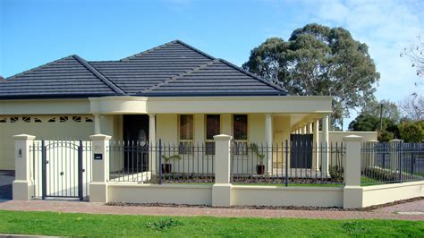 front house fence design sandstone fence pillars plinth and spearpoint infill house makeover ideas