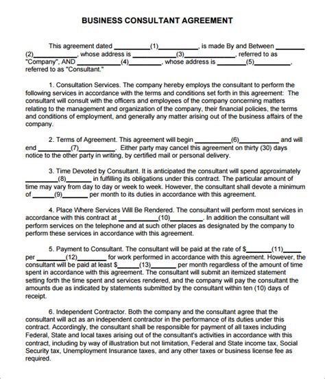 business consultant agreement template free consulting agreement 7 free pdf doc