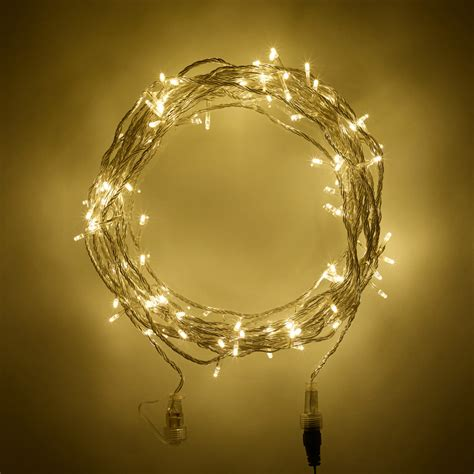 100 warm white led connectable fairy lights on 10m clear