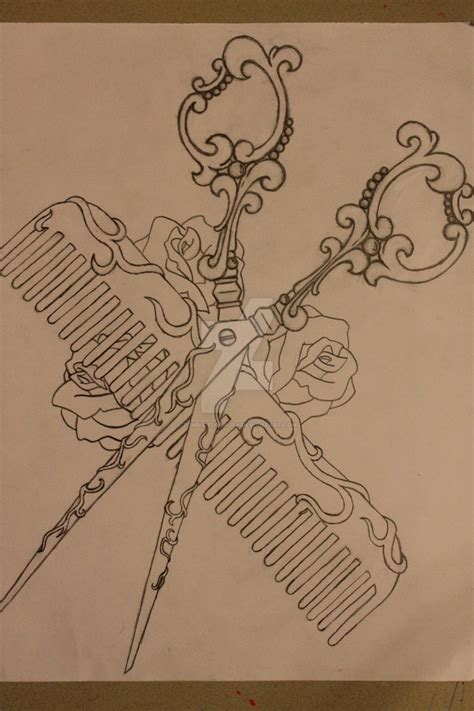 shears and comb tattoo design by zombifiedbeauty on deviantart