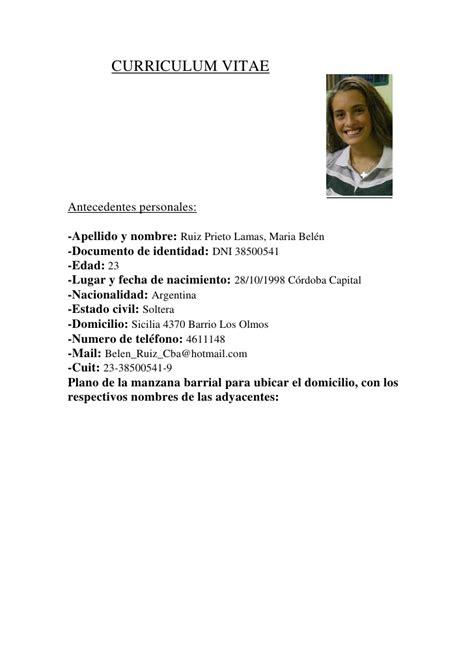 Modelo De Curriculum Vitae Completo Argentina Curriculum Vitae Belu