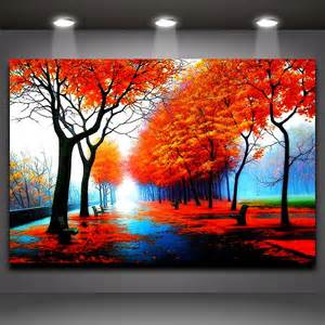 Landscape Wall Mural fall red maple forest landscape picture oil painting