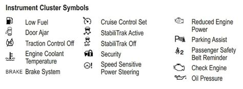 Cadillac Dashboard Symbols What Do Chevy Dashboard Warning Lights