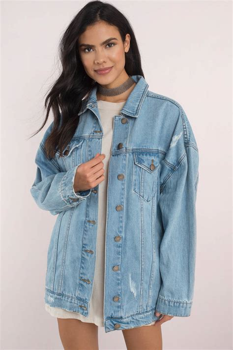 light blue denim jacket san vincente light wash oversized denim jacket tobi