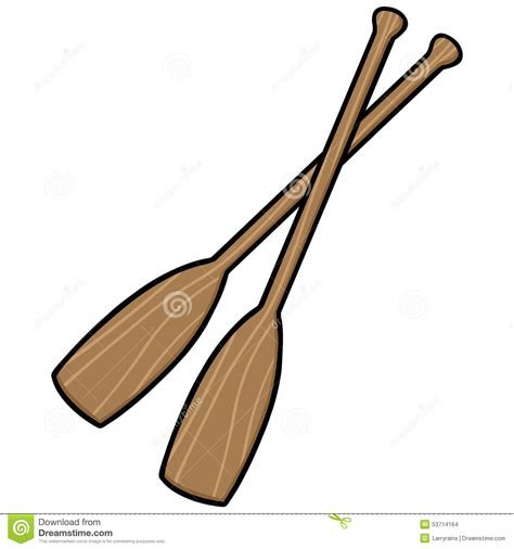 cartoon boat with oars canoe paddles stock vector image 53714164