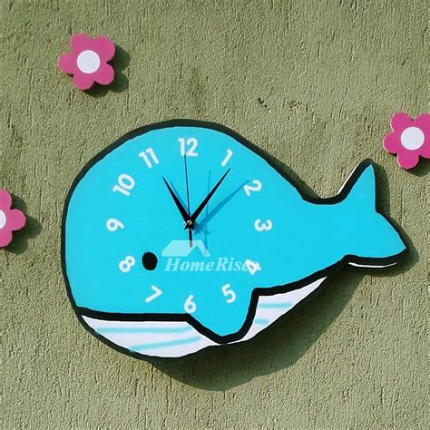 novelty wall clocks wooden whale unique blue kids analog cute