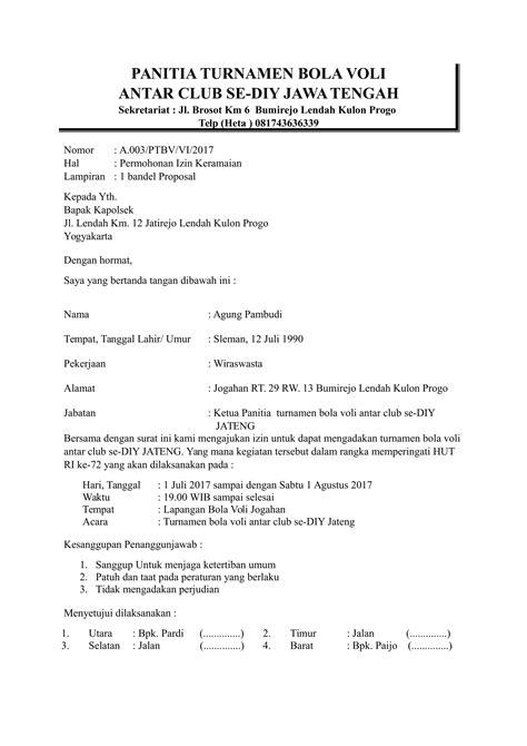 contoh surat izin keramaian kepada polsek