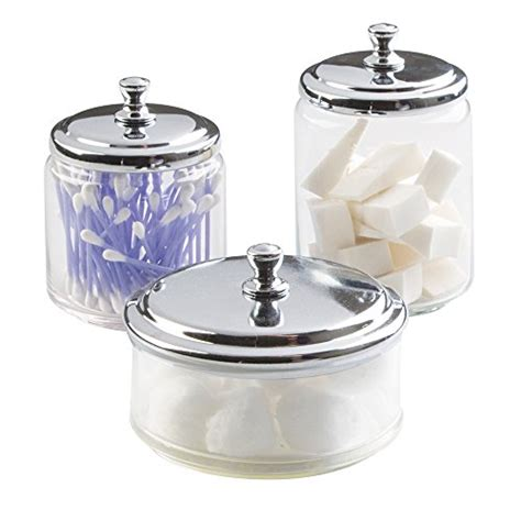 mdesign bathroom vanity glass apothecary jars for cotton