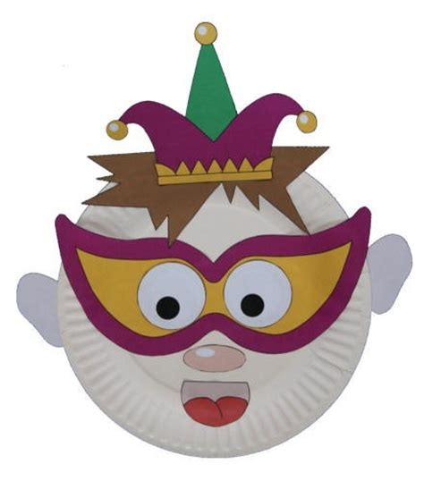 Mask With Paper Plates - paper plate jester craft