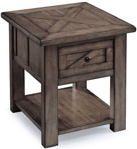 weathered wood table l garrett weathered charcoal wood rectangular end table from