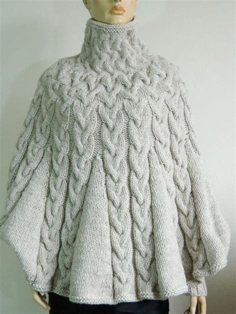 knitting pattern poncho with sleeves knit turtleneck poncho with sleeves from alpaca blend