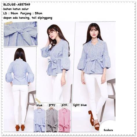 Blouse Atasan Import Baju Korea baju atasan lengan balon garis putih blouse bangkok korea