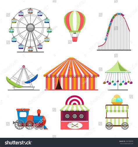 theme park vector amusement park icons set in flat design style stock vector