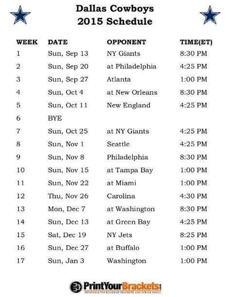 printable schedule for dallas cowboys dallas cowboys 2015 printable schedule calendar template