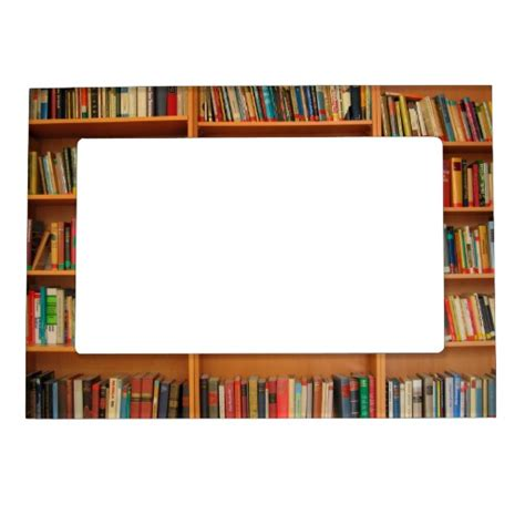 books on bookshelf background magnetic photo frame zazzle
