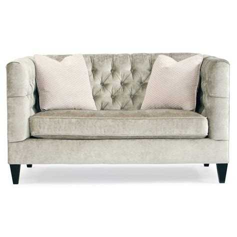 tufted settee loveseat jane hollywood regency mocha wood silver velvet tufted