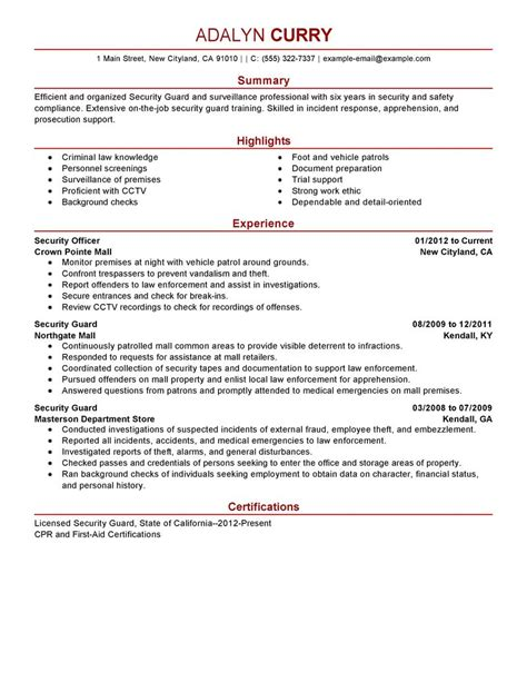 best security guard resume exle livecareer