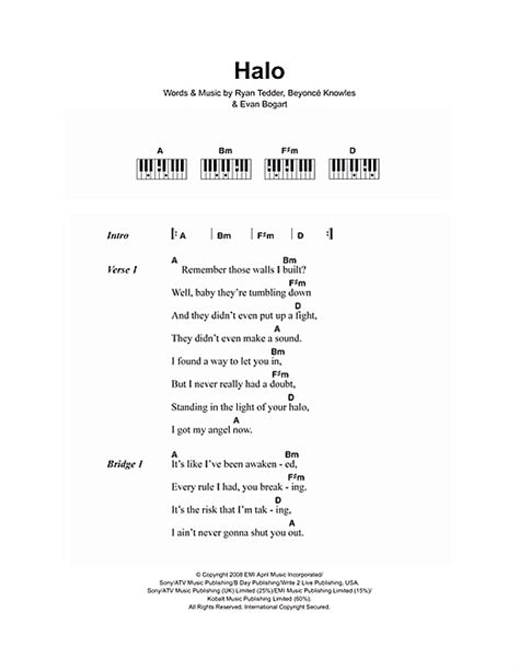 Printable Halo Lyrics | piano 13 chords piano 13 chords 13 chords piano piano