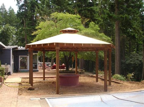 Customer Gazebo With Fire Pit Landscaping Pinterest Pit Gazebo