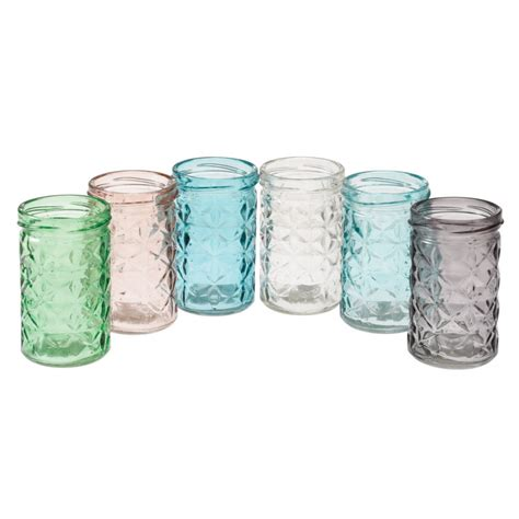 set of 6 coloured glass tealight holders rex london at