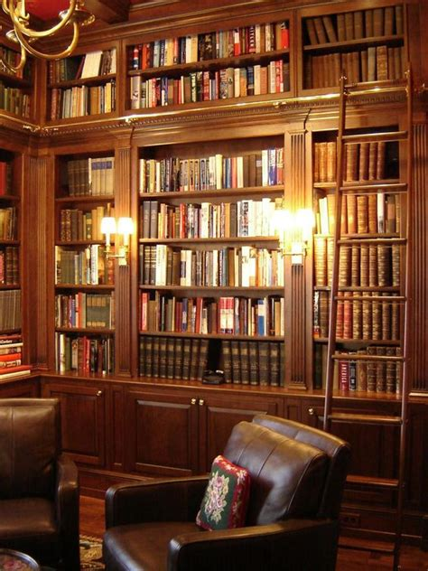 I Would Love To Have A Similar Library In My Home Cherry Wall To Ceiling Bookshelves