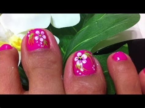 flower design on toes how to design flower on toe nails youtube