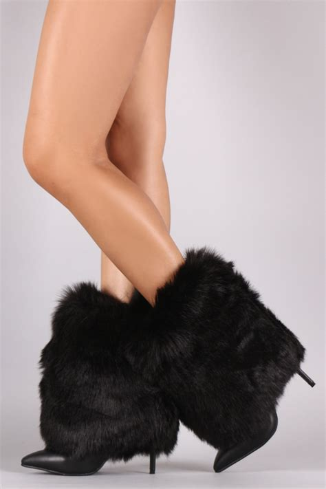 faux fur high heel boots fold booties pointed toe stiletto high heel
