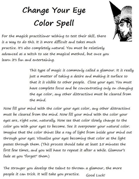 spell to change eye color change your eye color wiccan spells prayers