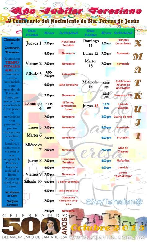 Calendario Xmatkuil 2017 Santa Teresa De Jesus Actividades Teresianas 1 Al 15