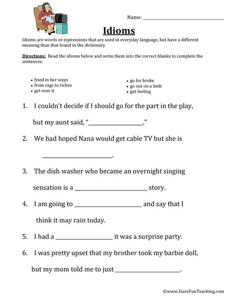 idiom worksheets idiom worksheets teaching