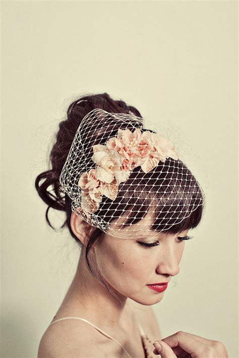 Handmade Birdcage Veil - handmade flowers headband with birdcage veil by