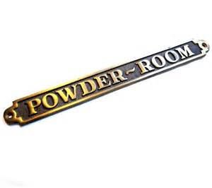 Powder Room Door Sign Vintage Solid Brass Metal Powder Room Sign By