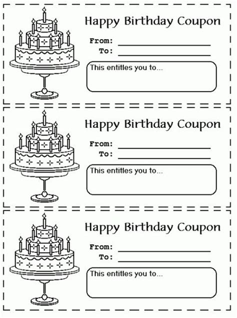 birthday coupon templates printable printable birthday coupons coloring pages gift ideas