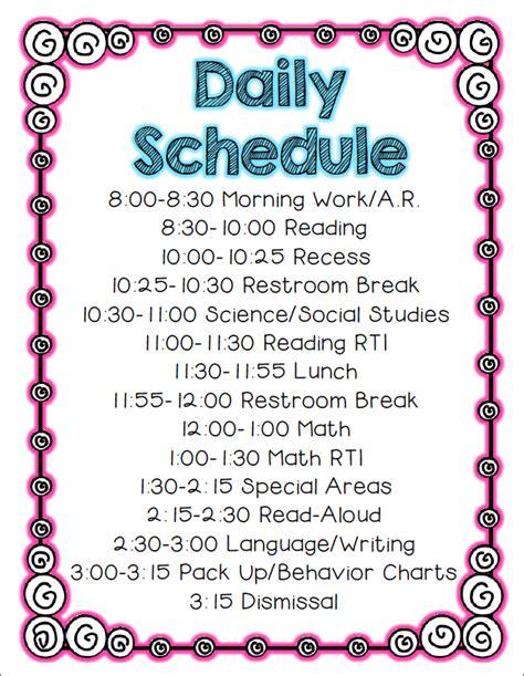 2nd Grade Stuff September 2013 Second Grade Schedule Template