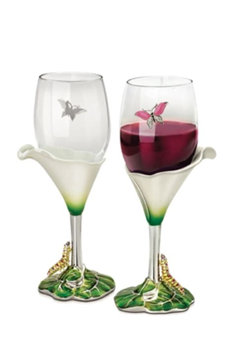 calla lily wine glasses  piece set decorative wine