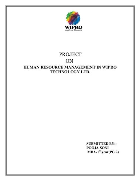 Project On Wipro For Mba hr practices of wipro