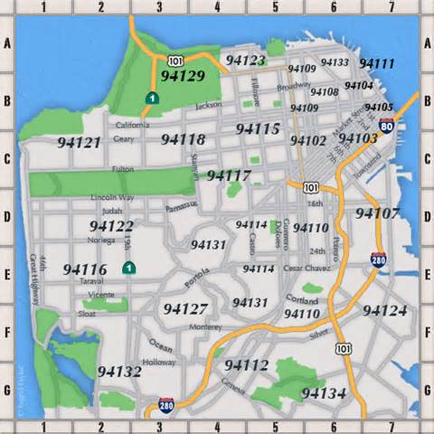 San Francisco Zip Code Map Neighborhood san francisco map by zip code
