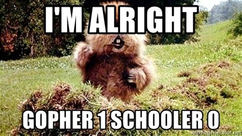 Gopher Meme - i m alright gopher 1 schooler 0 caddyshack gopher meme
