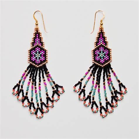 delica beaded earrings delica beaded earrings beadwork seed bead earrings