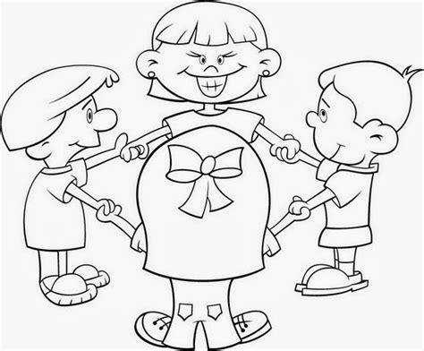 imagenes de niños jugando rondas para colorear ni 241 os jugando en circulo para colorear material para